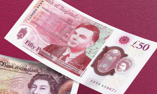 The new bank note honoring Alan Turing.